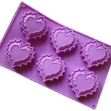 Customized Heart Shape Silicone Muffin Tray (SCM10701)