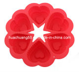 2014 New Design Six Heart Silicone Cake Mould